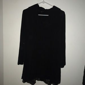 Black blouse with scoop neck